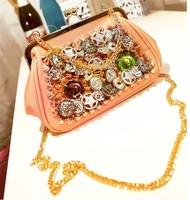Women's handbag fashion rhinestone buttons rivet handbag mini candy small bag free shipping