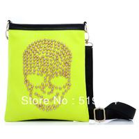 2013 candy color  small fresh fashion small bag skull bag women's rivet handbag free shipping