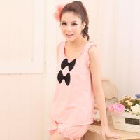 Bathrobe Sleepwear 2013 100% women's cotton sleepwear sleeveless spaghetti strap bow vest lounge set
