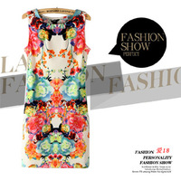 Forever18 women's slim 2013 sleeveless fashion flower one-piece dress