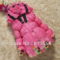 Free shipping Retail new 2013  children's winter clothing baby down coat girls warm medium-long outerwear child down jacket