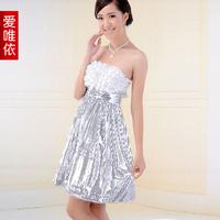 Love bridesmaid dress bride dress evening dress silver paillette formal dress
