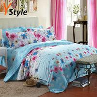 Summer Flower Fashion Blue Bedding Set Cotton Bedding Cover Sheet Pillowcase 3PCS/4PCS Free Shipping 1 Set Wholesale Price