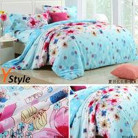 Korean Style Cotton Beddings Summer Flower Fashion Blue Bedding Set Cotton 3PCS/4PCS = 1 Set Bedding Cover Sheet Pillowcase