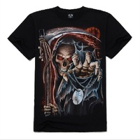 Skull Men's round neck short sleeve T-shirt 3Dt shirts rock t-shirt sickle skeleton creative men free shipping