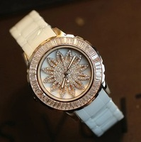 2014 New arrival 100% Original Ceramic Full diamond Quartz Women's Watch Big dial genuine ceramic Luxury Wrist Watch