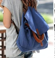 Spring and summer female bags 2013 canvas casual backpack bag school bag blue backpack