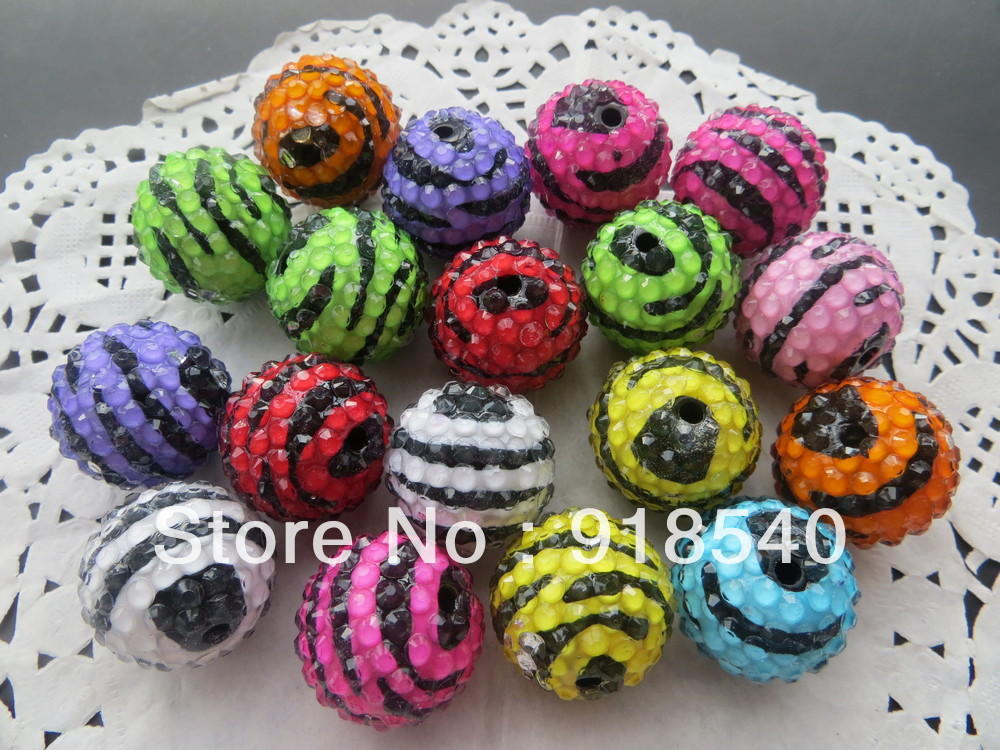 Newest 2013 Zebra Strips Fashion Jewelry Chunky 100pcs 22MM Resin Ball Rhinestone Beads for Necklace Jewelry!(China (Mainland))