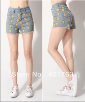 New Free shipping women's Denim Shorts Retro fashion high waist shorts summer sexy hot shorts popular cartoon pattern shorts