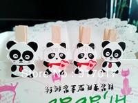 Free shipping 24sets (48PCS) Cute Panda Creative Wood Clip 35MM (CTCP08X2) Home Furnishing Gift Stationery