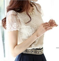 Stella free shipping Sweet princess wind embroidery lace pearl plus size chiffon lace shirt short-sleeve shirt