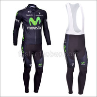 2013 MOvistar Winter Long Jersey and BIB Pants for Men's sport suit