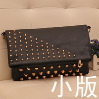 2013 trigonometric nail rivet ultralarge both sides of the day clutch plain  marc bag necessaries to  wristlets handbags