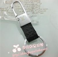 Man waist hanged car key chain/ring absolute leather printing LOGO big classic can match boxes