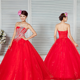 2013 red wedding dress tube top rhinestone sweet bridal wedding dress female(China (Mainland))