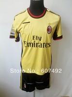 13/14 newest  AC milan kits,AC milan away gold  uniforms embroidery logo, SOCCER uniforms,