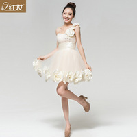 2013 new arrival bridesmaid dress one shoulder short design heart tube top champagne color dinner dress skirt