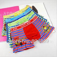 Free shipping NEW 2014 boys boxer (18 pieces/lot)  100% cotton boy's color stripe briefs kids panties  002
