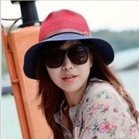 Pepper potts female han edition bump color big bowknot leather buckle hat brim summer sun hat flat hat