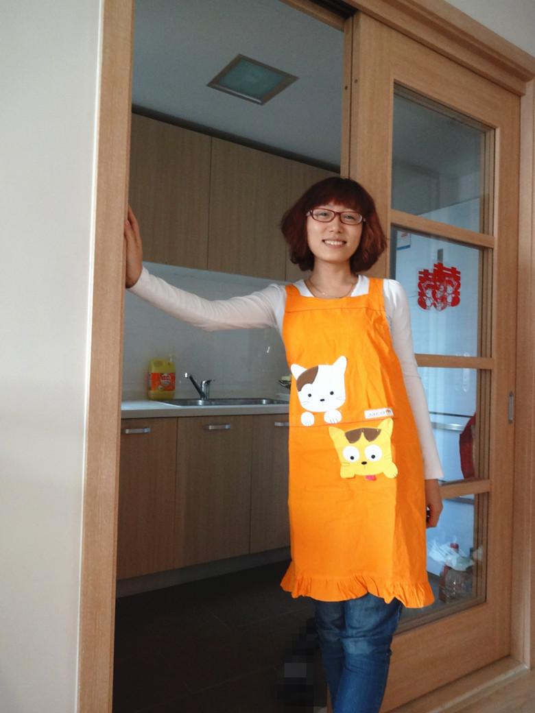 wholesale Derlook 100% full cotton cartoon apron sleeveless lovers aprons work wear(China (Mainland))