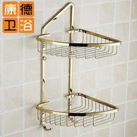 Gold double layer basket copper gold plated double layer trigonometric bathroom bath rack shelf