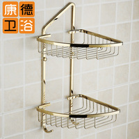 Gold double layer basket copper gold plated double layer trigonometric bathroom bath rack shelf