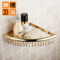 Copper gold plated triangle basket bathroom soap holder gold shelf bathroom supplies