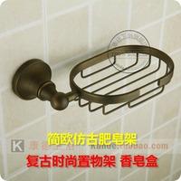 Fashion round antique copper soap basket vintage copper bathroom soap holder soap dish antique single disc (KP)