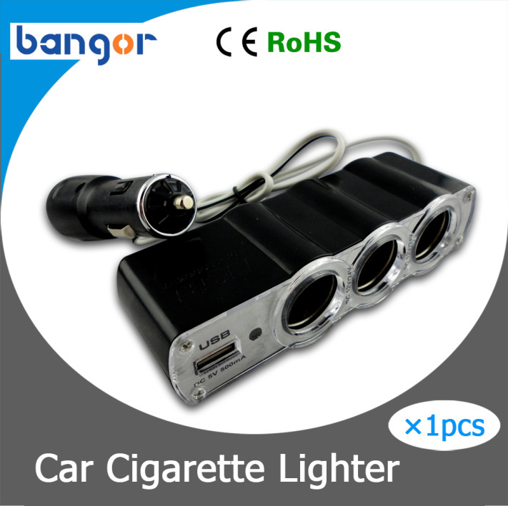 DC 12V/24V 1 to 3 Car Cigarette Lighter Socket Power Adapter Splitter with 1 USB Port Free Shipping(China (Mainland))