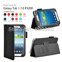 Galaxy Tab3 7.0 case, Folding folio stand leather case cover holder for Samsung Galaxy Tab3 P3200,100pcs/lot,DHL free shipping