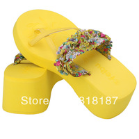 Female beach platform flip flops wedges high-heeled sandals flip slippers