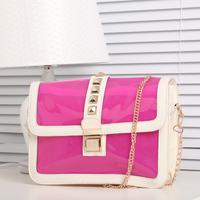 Free Shipping 2014 chain bag jelly bag transparent women's handbag shoulder bag messenger bag