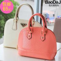 Japanned leather embossed crocodile pattern handbag cross-body Small shell bag candy color women's handbag