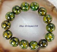 10mm Dragon Veins Agate Bangle Bracelet 7.5'' Fashion jewelry