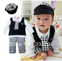 School style baby suit/Four sets:Cap+vest+long sleeves top+plaid long pant/Popular style