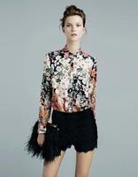 CL321 European style Famous brand Chiffon Retro flowers shirt Spring Summer fall women lady free Drop shipping