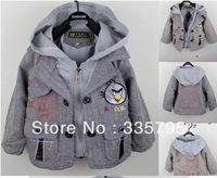 wholesale 3pcs/lot cute cartoon design baby boy's long two layer jacket/coat