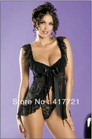 Free shipping ML2142  2013 New Fashion Sexy Lace Ladies Sleepwear Teddy Babydoll Lingerie G-String Nightwear
