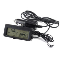 Brand New Black  In & Out LCD DC 12V  New Digital Inside And Outside Car back light Thermometer  Free shipping