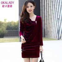 2013 elegant slim velvet beading slim hip basic one-piece dress winter
