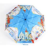 Fashion oil painting  anti-uv sun protection three fold umbrella folding umbrella