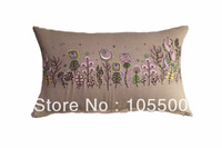 Free shopping PromotionLinen/Rayon Fabric Embroidery Cushion Cover  HT-LREC-04