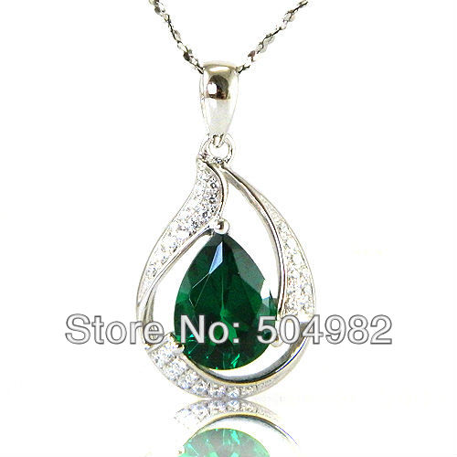 Wholesale Fashion Summer Stylish Hot Girls Emerald Necklaces Pendants 925 Sterling Silver Free Shipping(China (Mainland))