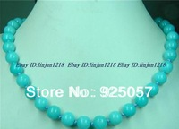 New AAA 10mm Aquamarine   Round Necklace 18''Fashion jewelry