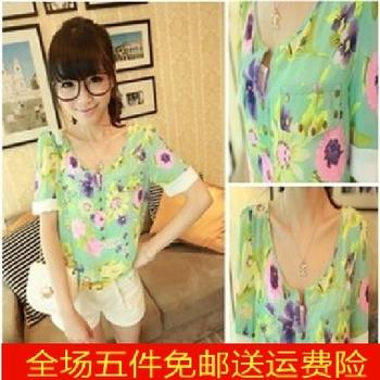 2013 women's lidar flower shirt summer women's loose short-sleeve chiffon fancy shirt