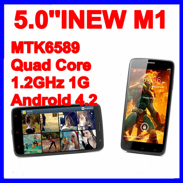 INEW M1 5.0'' Screen smart phone MTK6589 Quad Core 1.2GHz 1G RAM Dual SIM Mode urtal slim black mobile phones Android 4.2 cheap(China (Mainland))