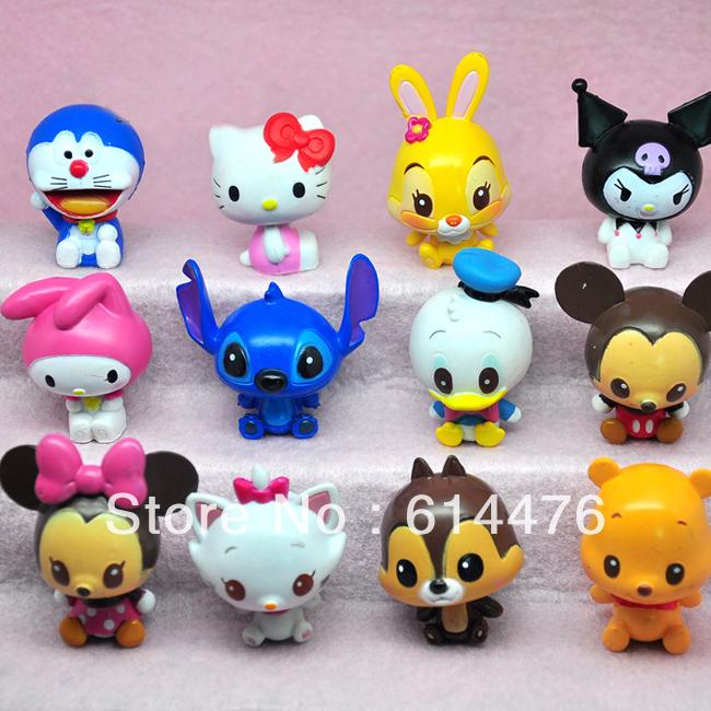Free shipping 30sets/lot (12pcs/set) Cute Stitch Donald Duck mickey pvc scene Decoration Action Figures toys(China (Mainland))