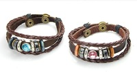 lover's  leather  jewelry jewellry crystal couple's  oxhide bracelet  accessories free shipping+free gift forMIN.MIX ORDER $10