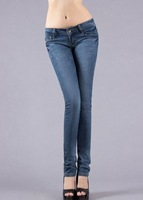 Light color, elastic, tight, little feet pants, pencil pants, Mid waist jeans, ladies jeans