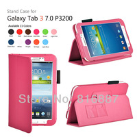 Hot Pink Leather Case Skin Cover For Samsung Galaxy Tab 3 7.0 P3200 P3210 Tablet With High Quality PU Free Shpping